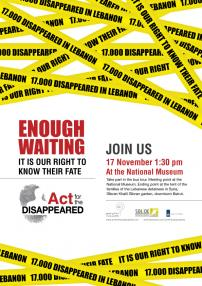 2012, November 17: Commemoration date of the first gathering of the families of the disappeared in Lebanon